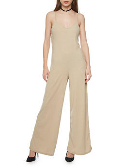 Sleeveless Rib Knit Flared Jumpsuit - KHAKI - 1045051060922