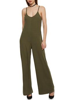 Sleeveless Rib Knit Flared Jumpsuit - OLIVE - 1045051060922
