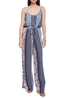 Printed Spaghetti Strap Jumpsuit with Tie Belt - NAVY - 1045051060936