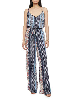 Printed Spaghetti Strap Jumpsuit with Tie Belt - BLUE PTN - 1045051060936