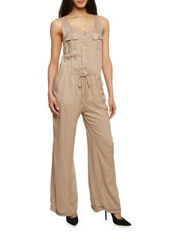 Sleeveless Button Front Wide Leg Jumpsuit - KHAKI - 1045051060938