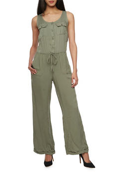 Sleeveless Button Front Wide Leg Jumpsuit - OLIVE - 1045051060938