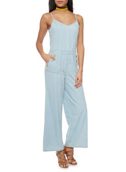 Denim Wide Leg Jumpsuit - MEDIUM WASH - 1045051060941