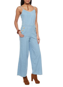 Denim Wide Leg Jumpsuit - DARK WASH - 1045051060941