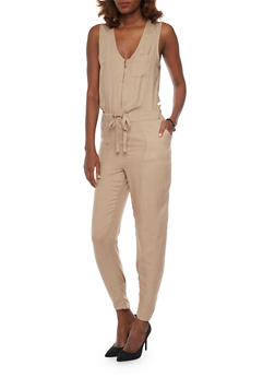 Sleeveless Zip Front Jumpsuit with Drawstring Waist - KHAKI - 1045051060947
