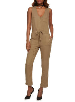 Sleeveless Zip Front Jumpsuit with Drawstring Waist - OLIVE - 1045051060947