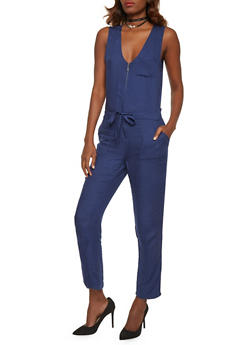 Sleeveless Zip Front Jumpsuit with Drawstring Waist - 1045051060947