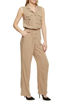 Sleeveless Button Front Jumpsuit - KHAKI - 1045051061000