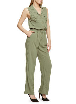 Sleeveless Button Front Jumpsuit - OLIVE - 1045051061000