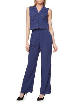 Sleeveless Button Front Jumpsuit - NAVY - 1045051061000