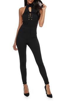Choker Neck Lace Up Jumpsuit - 1045051061052