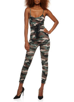 Lace Up Front Camo Catsuit - 1045051061081