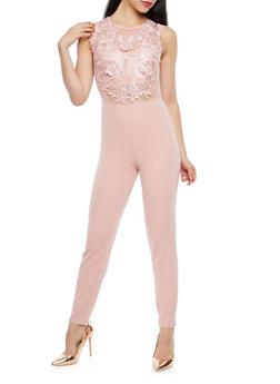 Crochet Overlay Mesh and Crepe Knit Jumpsuit - 1045051061115