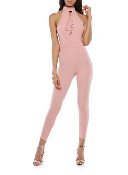 Lace Up Halter Jumpsuit - 1045051061228