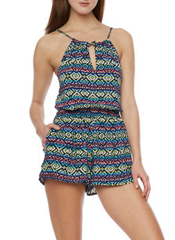 Multi Color Halter Romper with Front Tie Keyhole - PINK - 1045051061946