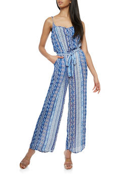 Printed Wide Leg Belted Jumpsuit - 1045051062082