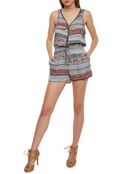 Printed Zip Front Romper with Drawsting Waist - 1045051062509