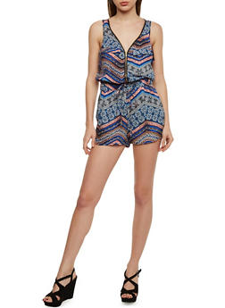 Printed Zip Front Romper with Drawsting Waist - BLUE - 1045051062509