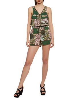 Printed Zip Front Romper with Drawsting Waist - MULTI COLOR - 1045051062509
