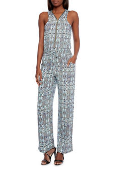 Printed Jumpsuit with Zipper Front - 1045051062704