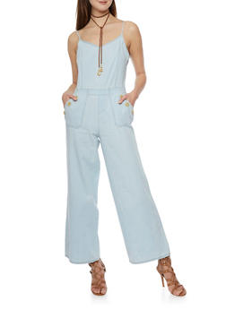 Sleeveless Wide Leg Zip Back Denim Jumpsuit - 1045051062941