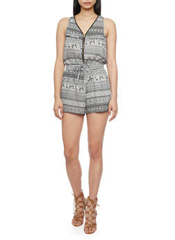 Zip Front Printed Sleeveless Romper with Drawstring - 1045051063509
