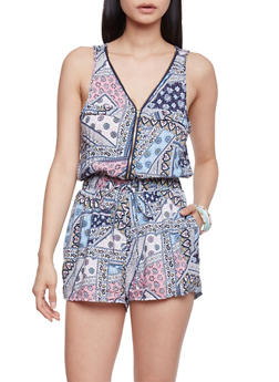 Zip Front Printed Sleeveless Romper with Drawstring - IVORY - 1045051063509