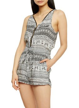 Zip Front Printed Sleeveless Romper with Drawstring - WHT-BLK - 1045051063509