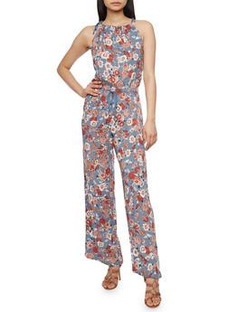 Floral Sphaghetti Strap Jumpsuit with Tie String Waist - DENIM - 1045051065943