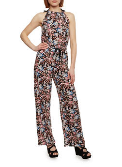 Floral Jumpsuit with Tie String Waist - 1045051065943