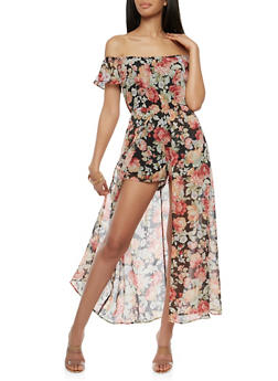 Floral Off the Shoulder Romper with Maxi Skirt Overlay - 1045051068119
