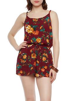 Gauze Knit Floral Romper - 1045054266742