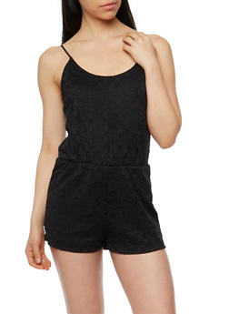 Crocheted Spaghetti Strap Romper - BLACK - 1045054267306