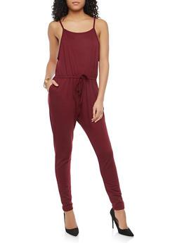 Spaghetti Strap Drawstring Waist Jumpsuit - 1045054267786