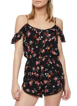 Floral Cold Shoulder Romper with Crochet Trim - 1045054268536