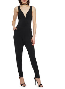 Sleeveless V Neck Jumpsuit - BLACK - 1045054268811