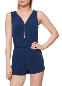 Zip Front Sleeveless Romper with Cinched Waist - 1045054269264