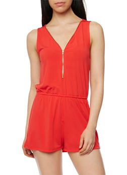 Zip Front Sleeveless Romper with Cinched Waist - POPPY - 1045054269264