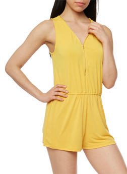 Zip Front Sleeveless Romper with Cinched Waist - MUSTARD - 1045054269264