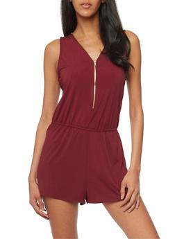 Zip Front Sleeveless Romper with Cinched Waist - BURGUNDY - 1045054269264