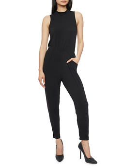 Sleeveless Mock Neck Jumpsuit with Keyhole Back - 1045054269286