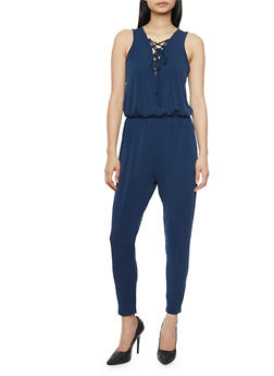 Sleeveless Lace Up V Neck Jumpsuit - NAVY - 1045054269322