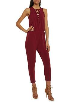 Sleeveless Lace Up V Neck Jumpsuit - BURGUNDY - 1045054269322