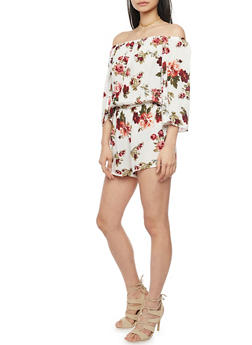 3/4 Sleeve Off The Shoulder Floral Romper - 1045054269386