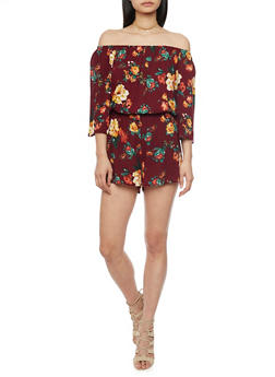 3/4 Sleeve Off The Shoulder Floral Romper - BURGUNDY - 1045054269386