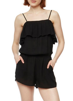 Gauze Knit Cold Shoulder Spaghetti Strap Romper - BLACK - 1045054269438