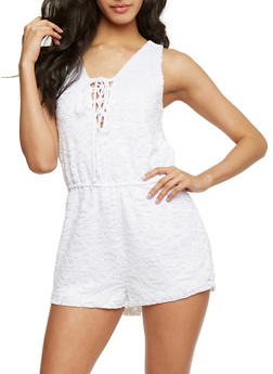 Sleeveless Lace Up Romper - WHITE - 1045054269439