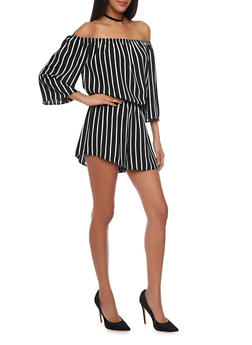 Striped Off the Shoulder Crepe Knit Romper - 1045054269452