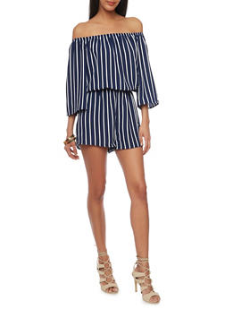 Striped Off the Shoulder Crepe Knit Romper - ECLIPSE/WHITE - 1045054269452
