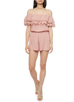 Off The Shoulder Romper with Crochet Overlay - MAUVE - 1045054269459